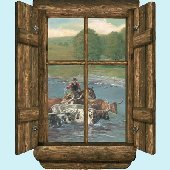 Log Window Cattle Drive Peel and Stick Wall Mural