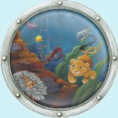 Undersea Animal Porthole 1 Peel and Stick Mural