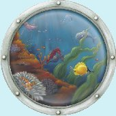 Undersea Animal Porthole 2 Peel and Stick Mural