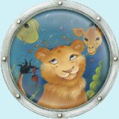 Undersea Animal Porthole 3 Peel and Stick Mural