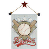 Baseball Hand Painted Hanging Canvas