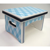 Blue and White Argyle Sturdy Step Stool