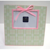 Ribbon Made Pink and Green Plaid Frame