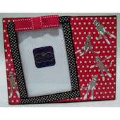 Ribbon Made Sock Monkey Polka Dot Frame