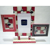 Ribbon Made Triple Sock Monkey Frame