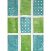 Rizzy Home Green and Blue Polka Dot Rug