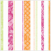Paisley Stripes Pink Green and Orange Wallpaper