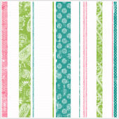 Paisley Stripes Teal Pink and Lime Wallpaper