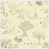 Pooh and Friends Tolie Cream and Black Wallpaper