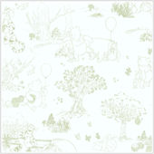 Pooh and Friends Tolie White and Green Wallpaper