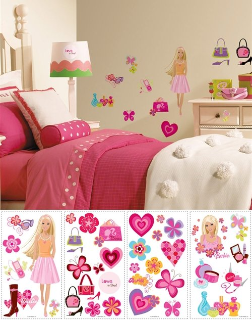 Barbie deco peel and stick appliques the frog and the for Barbie wall mural