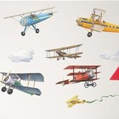 Vintage Airplanes Peel and Stick Appliques
