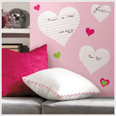 Heart Notepad Dry Erase Wall Decals