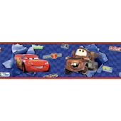 Disney Cars McQueen and Mater Blue Wall Border
