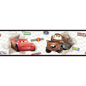 Disney Cars McQueen and Mater White Wall Border