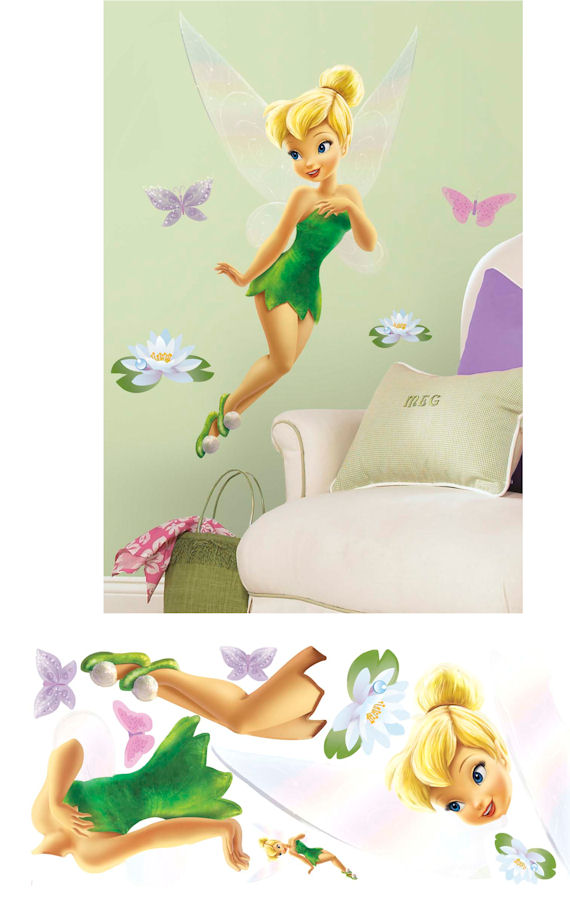 tinker bell glitter giant wall sticker the frog and the disney tinker bell giant headboard wall sticker disney