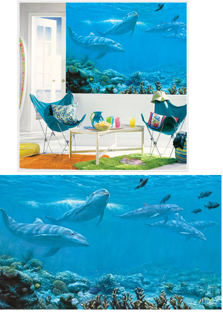 Dolphins xl wall mural the frog and the princess for Dolphin wall mural