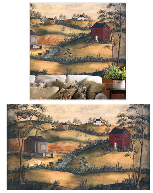 Primitive scenery xl wall mural the frog and the princess for Country wall mural