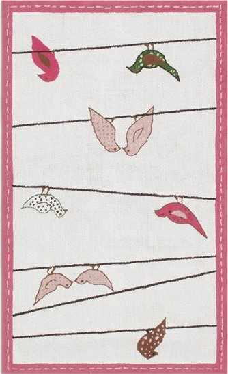 Mod Birds Pink and Brown Area Rug Detailed Photos