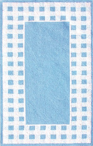Blue and White Gingham Border Rug