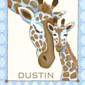 Giraffe Family Blue Canvas Wall Art