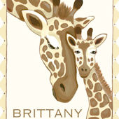 Giraffe Family Cream Canvas Wall Art