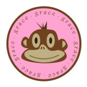 Monkey Face Girls Personalized Plate