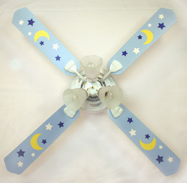 Sweet pea blue moon and stars ceiling fan the frog and the princess sweet pea blue moon and stars ceiling fan mozeypictures Gallery
