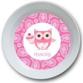 Sweet Madys Cupcake Owl Personalized  Bowl