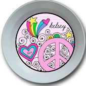 Sweet Madys Peace And Love Personalized  Bowl