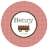 Sweet Madys Gingham Boy  Plate