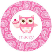 Sweet Madys Cupcake Owl Personalized Plate
