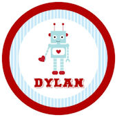 Sweet Madys Robot Love Personalized Plate
