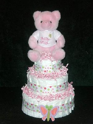 Its A Girl Teddy Bear Diaper Cake The Frog And The Princess