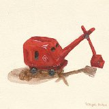 Red Steam Shovel Wall Art