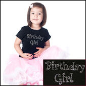 Twinkling Tees Birthday Girl Curly Letters Tee