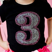 Birthday Girl Number Rhinsetone Tee