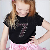 Birthday Number  Girls Rhinestone Tees