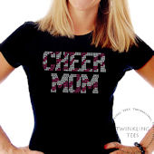 Cheer Mom Zebra Ladies Rhinestone Tee Shirt