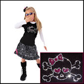 Twinkling Tees Girly Skull  Bling Tee