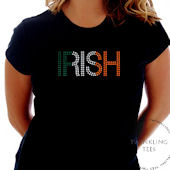 Irish Colors Ladies Rhinestone Tee Shirt
