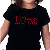 Love Girls Valentines Day Rhinestone Tee Shirt