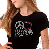 Peace Love Cheer Script Girls Rhinestone Tee Shirt