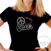 Peace Love Cheer Script Ladies Rhinestone Shirt