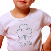 Shamrock Personalized Girls Rhinestone Tee Shirt