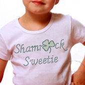 Shamrock Sweetie Girls Rhinestone Tee Shirt
