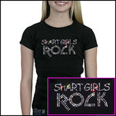 Twinkling Tees Smart Girls Rock  Bling Tee