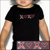 Twinkling Tees XOXO Hearts  Bling Tee