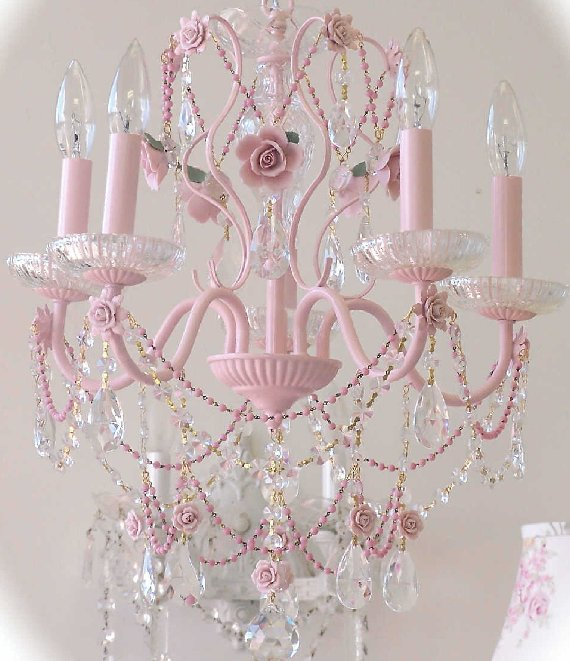 Vintage Pretty in Pink Crystal Chandelier - The Frog and the Princess