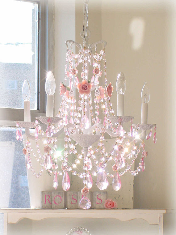 French chandelier with pink roses and pink prisms the for Chandelier light for girls room